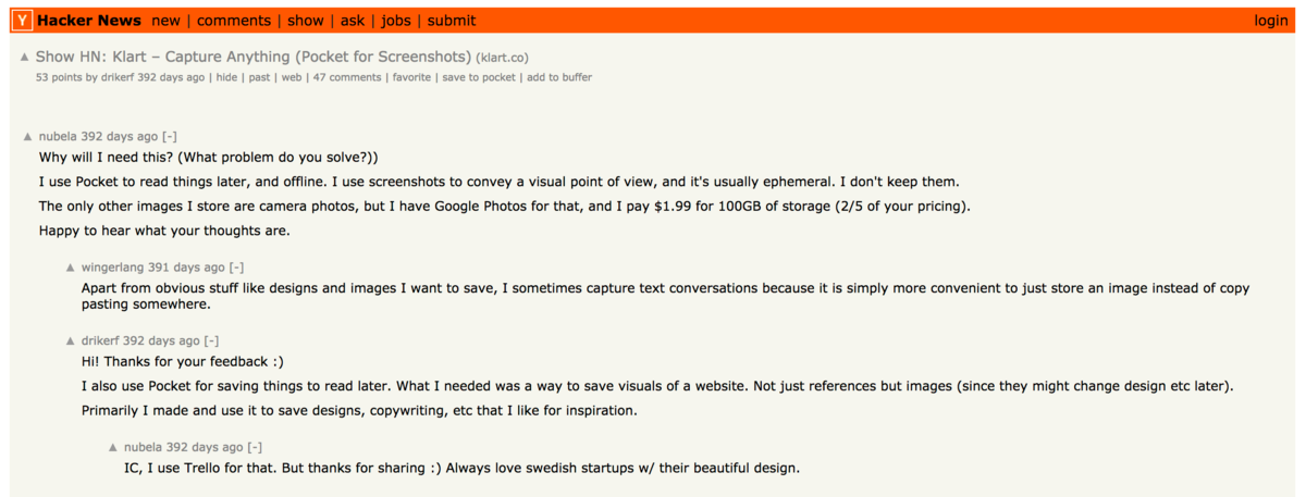 Answering comments on HN